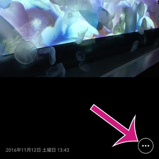 「さくっとシークレット」の写真・ビデオを1つだけ表示させる画面でメニューボタンをタップ