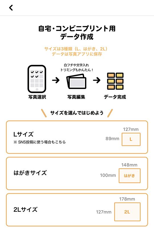 さくっとプリントの自宅・コンビニプリント用データ作成画面